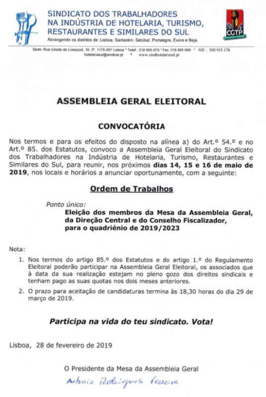Assembleia eleitoral, hotelaria 2019