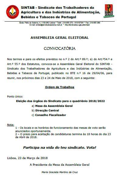 Convocatória eleitoral SINTAB