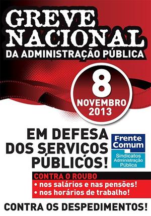 8 NOV. Greve Nacional da Administração Pública