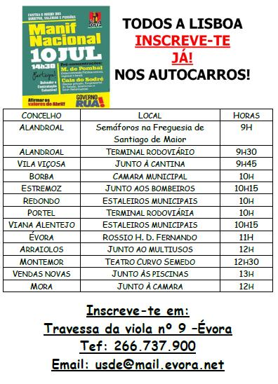 Horários autocarros - Manif 10 JUL. Lisboa